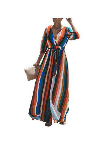 86138376716 2018 Women Long Dress Sexy Split V Neck Striped Female Maxi Chiffon Dress