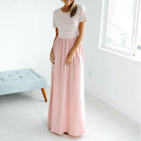 Women's Autumn Maxi Dress Short Sleeve Striped Top Floral Dresses for Women with - PIG PINK M