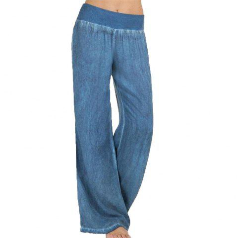 Women's Loose Broad Legged Jeans - BLUE 2XL