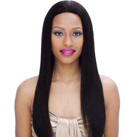 Lonjia Straight Wig Human Hair Natural Color Indian Virgin Hair - NATURAL BLACK 12INCH