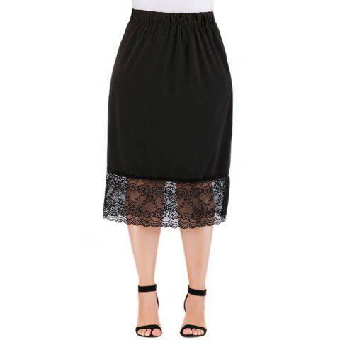 Solid Color Hollow Out Lace Skirt - BLACK XL