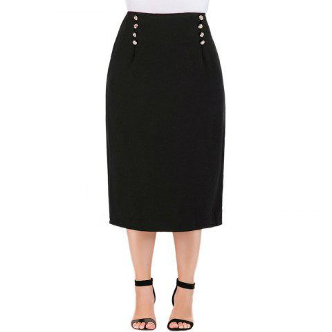 Solid Color Double Breasted Skirt - BLACK 3XL