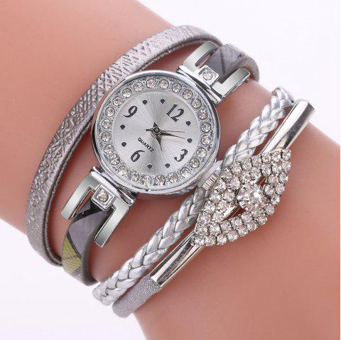 XR2741 Small Floral Bracelet with Diamond Accessories Women'S Watch - GRAY CLOUD