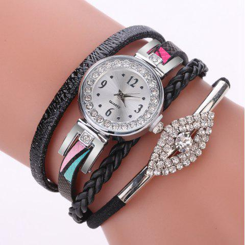 XR2741 Small Floral Bracelet with Diamond Accessories Women'S Watch - BLACK