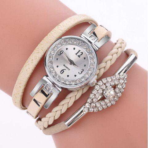 XR2741 Small Floral Bracelet with Diamond Accessories Women'S Watch - BEIGE