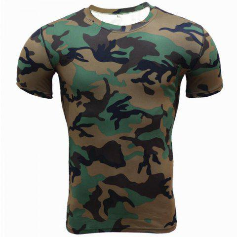 Men's Plus Size Sports Active Slim Tank Top Camouflage Print  Sleeveless - DARK FOREST GREEN 3XL
