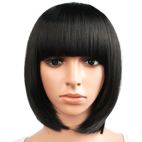 2019 Short Straight Hair Synthetic Black Color Bob Wig With Bangs