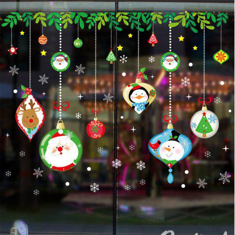 Merry Christmas Santa Claus Snowflake Ball Glass Window Sticker Removable - multicolor A 18 X 23 INCH