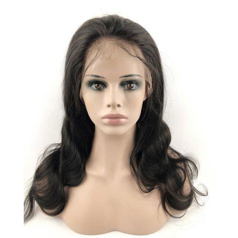 Human Hair Lace Front Wigs Boby Wave with Baby Hair Natural Hairline for Women - NATURAL BLACK 20INCH