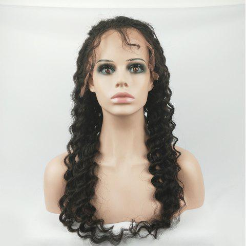 Human Hair Wig Full Lace Wig Deep Wave with Baby Hair Natural Hairline for Women - NATURAL BLACK 24INCH