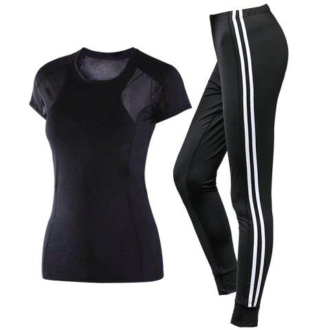 2 Pcs Women'S Sports Clothes O Neck T-Shirt Striped Fitness Pants Set - BLACK L