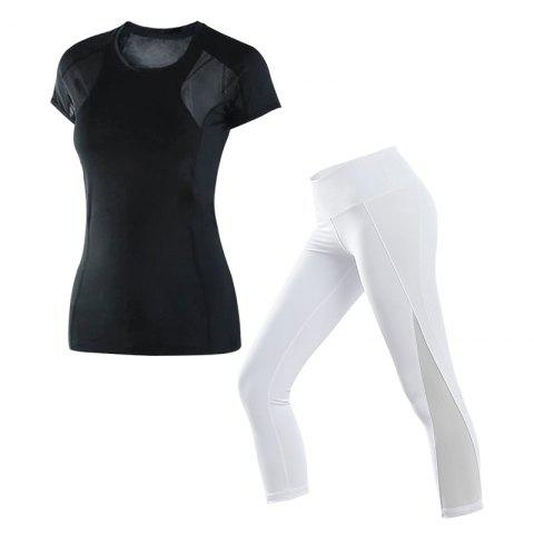 2 Pcs Women'S Sports Clothes O Neck T-Shirt Patchwork Yoga Cropped Pants Set - WHITE XL
