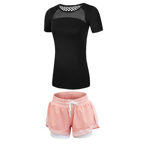 2 Pcs Women'S Fitness Clothes Set Hollow Out Breathable T-Shirt Running Shorts S - BLACK L