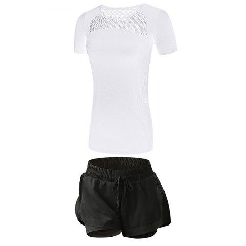 2 Pcs Women'S Fitness Clothes Set Hollow Out Breathable T-Shirt Running Shorts S - MILK WHITE L