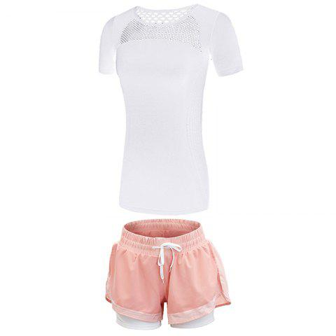 2 Pcs Women'S Fitness Clothes Set Hollow Out Breathable T-Shirt Running Shorts S - WHITE S