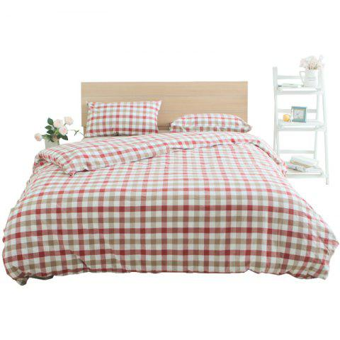 Red Grid Cotton Bedding Set  from Jinsehuanian - ROSE RED SINGLE