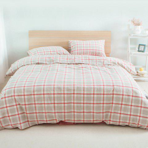 Cotton Nola Series Red Grid Bedding Set from Jinsehuanian - BEAN RED SINGLE