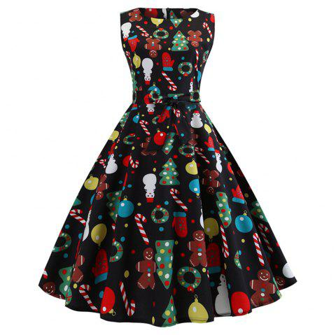 Christmas Print black Dress - BLACK XL
