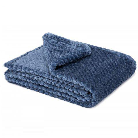Super Soft Blanket Flannel Aircraft Sofa Use Office Children Blanket Towel - BLUE 100X150CM