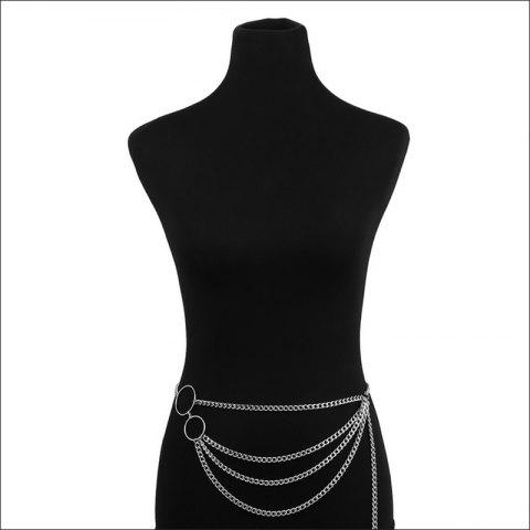 Multilayer sexy waist chain - SILVER 1PC