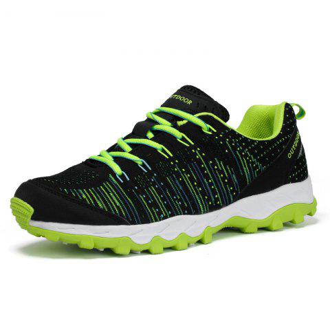Men Mesh Outdoor Sports Non-Slip Lightweight Breathable Leisure Hiking Shoes - GREEN EU 45