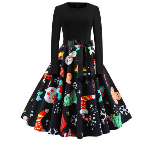 391868b6c63c 17% OFF] 2019 Christmas Style Print Dress In BLACK | DressLily