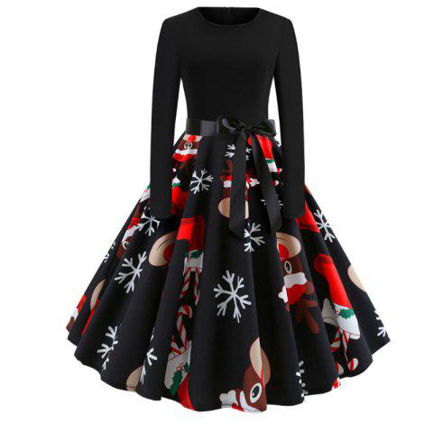 A Dress with A Round Collar for Christmas - BLACK M