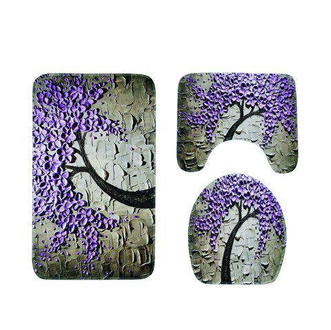 Carved Toilet Seat Cushion Anti-Skid Water Absorption Combination Three-Piece - VIOLET 1 SET