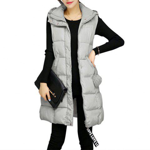 Hooded Solid Color Cotton Jacket - ASH GRAY S