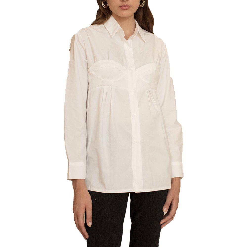 HAODUOYI Women's Simple Personality Lapel Pleated Shirt White - WHITE M