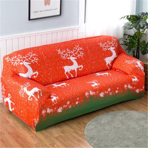 Christmas Stretch Tight Package Full Cover Sofa Cover Fabric Non-Slip Sofa Cover - RED THREE SEATS