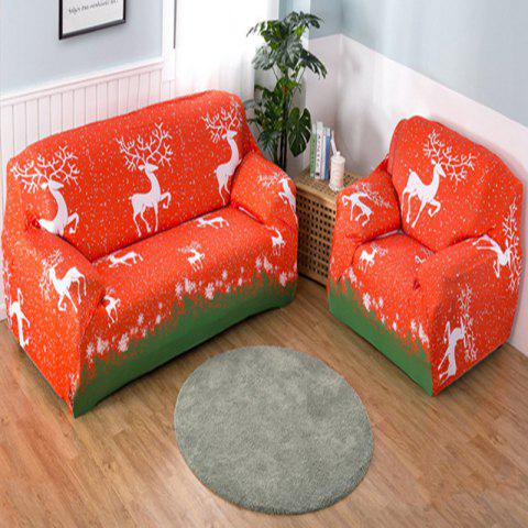 Christmas Stretch Tight Package Full Cover Sofa Cover Fabric Non-Slip Sofa Cover - RED TWO SEATS