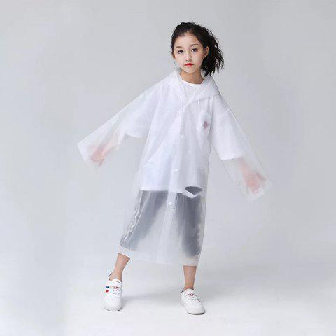Transparent Clear Reusable Raincoat with Hood and Sleeves for Unisex Children - TRANSPARENT 1PC