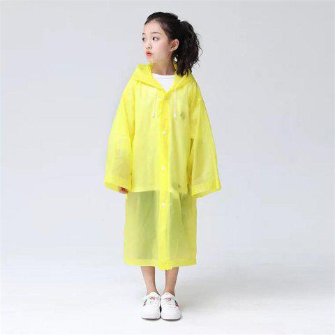 Transparent Clear Reusable Raincoat with Hood and Sleeves for Unisex Children - CORN YELLOW 1PC