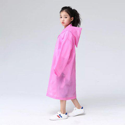 Transparent Clear Reusable Raincoat with Hood and Sleeves for Unisex Children - HOT PINK 1PC