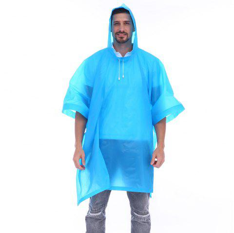 EVA Waterproof Rain Poncho Raincoat with Hoods for Outdoor Camping Theme Park - DEEP SKY BLUE