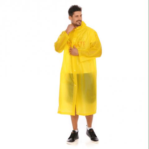Adult PVC long thick rain poncho raincoat with transparent hoods for outdoor - RUBBER DUCKY YELLOW L