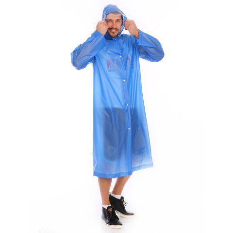 Adult PVC long thick rain poncho raincoat with transparent hoods for outdoor - SKY BLUE L
