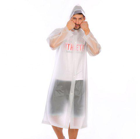 Adult PVC long thick rain poncho raincoat with transparent hoods for outdoor - TRANSPARENT XL