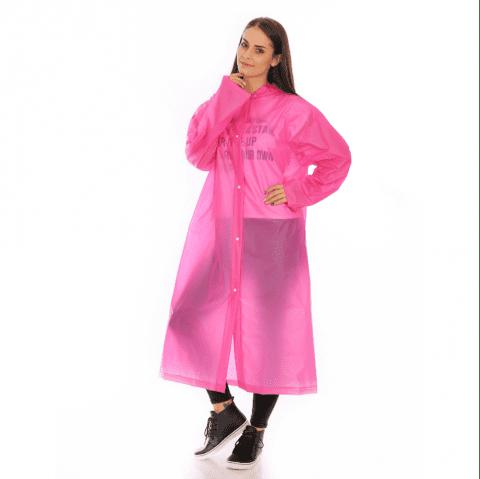 Adult PVC long thick rain poncho raincoat with transparent hoods for outdoor - NEON PINK XL