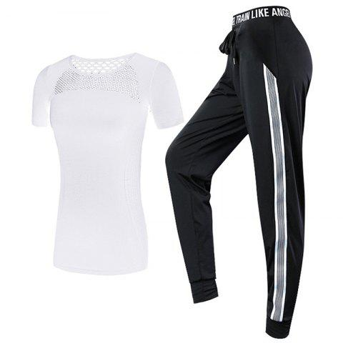 2 Pcs Women'S Sports Clothes Plus Size Hollow Out T-Shirt Striped Pants Set - WHITE L