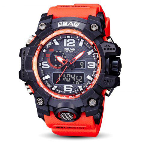 Fashion sports multi-function outdoor electronic silicone watch - RED 1PC