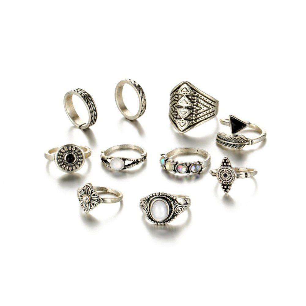 Image of 10-PIECE Set Women'S Fashion Ring Gem Set Carved Ring