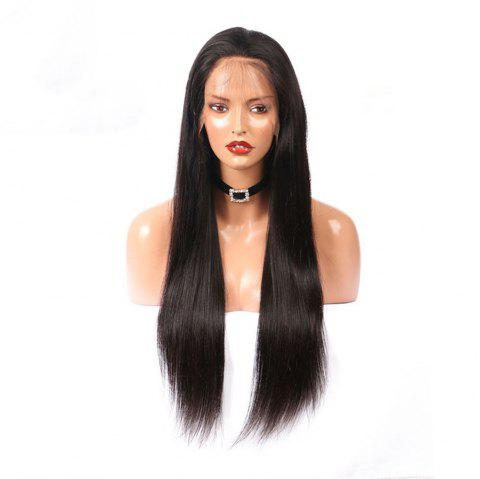 Silky Straight Human Hair Natural Black Color Lace Front Wigs For Women - NATURAL BLACK 22 INCHES