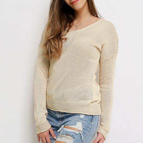 2018 automne pull en tricot d'hiver pull femmes sexy gris col en v - Blanc Chaud S