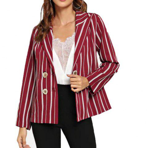 Woman'S Striped Long Sleeve  Suit - RED WINE S