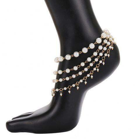 Simple multi-layered pearl anklet - GOLD 1PC