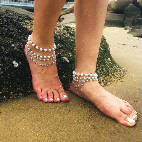 Simple multi-layered pearl anklet - SILVER 1PC