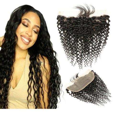 Longjia Remy Hair 4X13 Lace Frontal Curly Wave Natural Black 1Pcs - NATURAL BLACK 18INCH