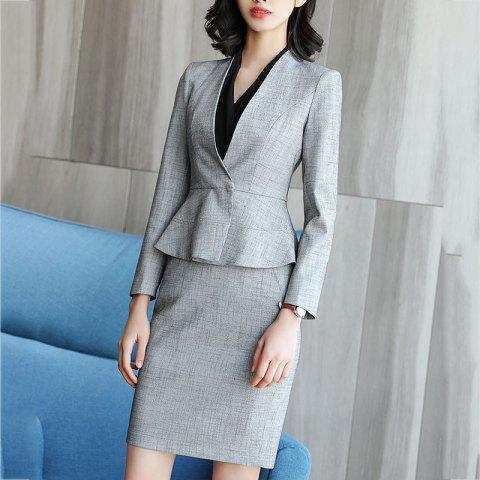 Women's Fashion Temperament Lady Business Model Professional Suit - DARK GRAY L